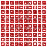 100 auto icons set grunge red Stock Images