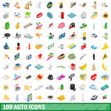 100 auto icons set, isometric 3d style Stock Photo