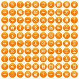 100 auto icons set orange. 100 auto icons set in orange circle isolated on white vector illustration vector illustration