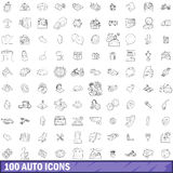 100 auto icons set, outline style Stock Photo