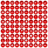 100 auto icons set red. 100 auto icons set in red circle isolated on white vector illustration Stock Images