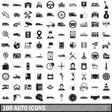 100 auto icons set, simple style. 100 auto icons set in simple style for any design vector illustration Royalty Free Stock Photo