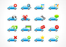 Set of interface vector icons for cars service business.. To buy car, auto parts, home page, tire, new, yes, no, star, message, best offer, contact us, sales Stock Photos