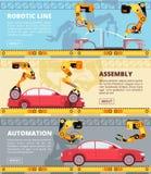 Auto-industrielopende band Autoproductiefabriek met industriële robots Auto die vector geplaatste banners vervaardigen royalty-vrije illustratie
