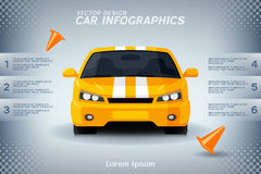 Auto info-graphics with generic sports car and road cones Royalty Free Stock Photos