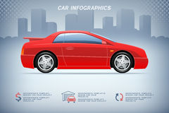 Auto info-graphics with generic sports car on urban background Stock Photos