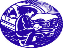 Auto Insurance Adjuster Car Collision. Illustration of insurance adjuster with clipboard taking notes on car collision set inside ellipse done in retro woodcut royalty free illustration