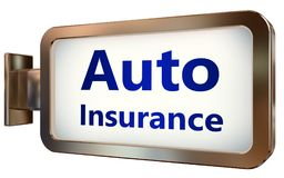 Auto Insurance on billboard background. Auto Insurance wall light box billboard background , isolated on white Stock Images