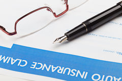 Auto insurance claim form Stock Images