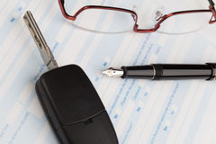 Auto insurance claim form. With fountain pen Royalty Free Stock Photos
