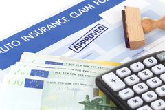 Auto insurance claim form. With stamp approved Stock Images