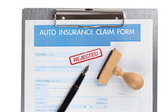 Auto insurance claim form. With stamp rejected Stock Photography