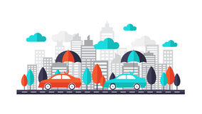 Auto insurance concept - Car protected under umbrella running on the road through the town.Flat design  illustration. Auto insurance concept - Car protected Stock Photography