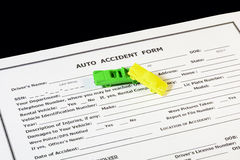 Auto insurance form with toy cars Royalty Free Stock Photography