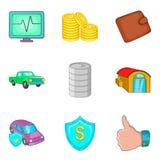 Auto insurance icons set, cartoon style Stock Photos