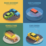 Auto Insurance Isometric Icons Square. Auto insurance concept 4 isometric icons square for road accident damage and car fire damage isolated vector illustration Stock Photos