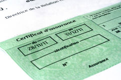 Auto insurance organizes. Papers of auto insurance for the annual renewal in France Royalty Free Stock Photos