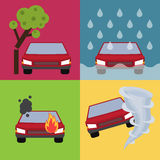 Auto insurance vector illustration. Auto insurance set vector illustration with cars suffering from nature disaster. Layout template for infographics Stock Photo