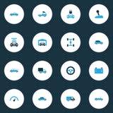 Auto Kolorowe ikony Ustawiać Obraz Stock