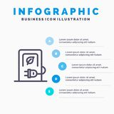 Auto, Laden, Elektrisch, Posten, het pictogram van de Voertuiglijn met infographicsachtergrond van de 5 stappenpresentatie vector illustratie