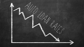 Auto Loan rate. Declining Line graph. Drawn with chalk on blackboard stock images