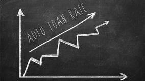 Auto Loan rate. Growing Line graph. Drawn with chalk on blackboard stock photos
