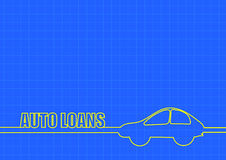 Auto loans and car line on blue background Stock Photography