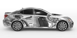 Auto lokalisiert auf weiß- Chrom, abgetöntes Glas - rechte Seitenansicht lizenzfreie abbildung
