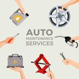 Auto maintenance services set with green car in picture centre Royalty Free Stock Photos