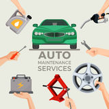 Auto maintenance services set with green car in picture centre Stock Photo