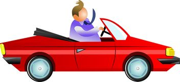 Auto man. Man driving in an open top sports car - icon people series Royalty Free Stock Photography