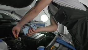 Auto mecânicos que verificam o nível de óleo com o medidor de óleo do óleo, sistemas de diagnósticos máquina, serviço do carro, r video estoque