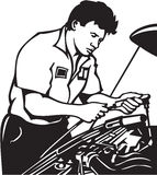 Auto Mechanic. Line Art Illustration of an Auto Mechanic Stock Images
