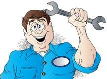 Auto Mechanic. Cartoon of a Happy Auto Mechanic Royalty Free Stock Photos