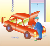 Auto mechanic. Working on engine in auto repair shop - Vectorial illustration. EPS file available Stock Photo