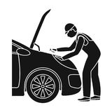 Auto mechanic and adjustment single icon in black style for design.Car maintenance station vector symbol stock. Illustration Stock Photos