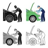 Auto mechanic and adjustment single icon in cartoon,outline,black style for design.Car maintenance station vector symbol Royalty Free Stock Image