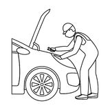 Auto mechanic and adjustment single icon in outline style for design.Car maintenance station vector symbol stock. Illustration Stock Images