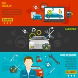 Auto Mechanic Banner Set Royalty Free Stock Photography