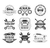 Auto Mechanic Black And White Emblems Royalty Free Stock Photography