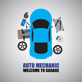 Auto mechanic,Car Mechanic Repairing Under Automobile Royalty Free Stock Photos