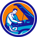 Auto Mechanic Car Repair Circle Retro Stock Image