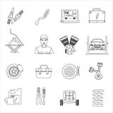 Auto mechanic car repair service thin line icons set Royalty Free Stock Photos