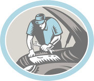 Auto Mechanic Car Repair Woodcut Retro Royalty Free Stock Photography