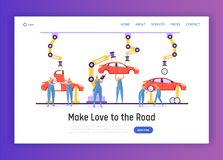 Auto Mechanic Character Make Change Car Wheel at Service Station Landing Page. People Working Uniform Repair Auto. Professional Service Concept Website or Web royalty free illustration