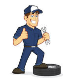 Auto Mechanic. Clipart picture of an auto mechanic cartoon character Royalty Free Stock Photos