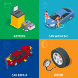 Auto mechanic design concept set with car repair service, auto service computer car diagnostic. flat icons  Stock Photos