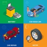 Auto mechanic design concept set with car repair service, auto service computer car diagnostic. flat icons  Stock Photos