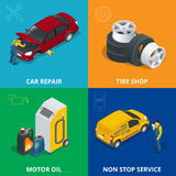 Auto mechanic design concept set with car repair service, auto service computer car diagnostic. flat icons  Stock Images