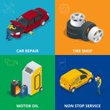 Auto mechanic design concept set with car repair service, auto service computer car diagnostic. flat icons  Stock Images
